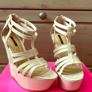 NWT in box Nude Wedges